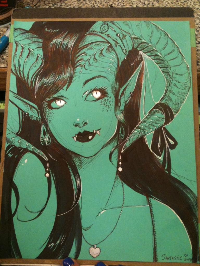 Ballpoint Pen Monster Girl by Sabtastic
