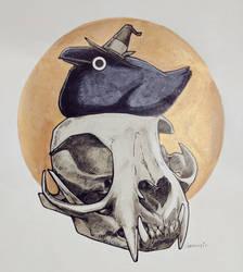 Inktober Crow with Bobcat Skull