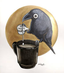 Inktober Cawfee Crow