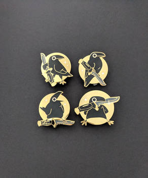 Knife Crow Enamel Pin Set