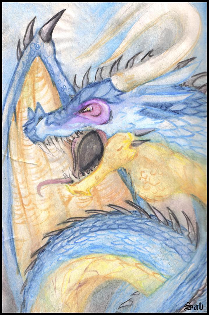 Dragon Watercolour by Sabtastic