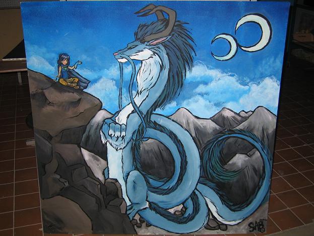 4x4 Dragon Mural for school by Sabtastic