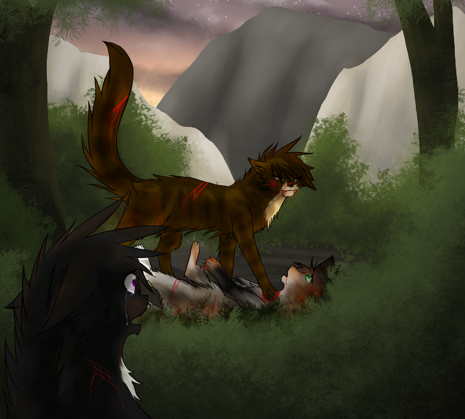 Redtail's death redraw by shadowfeather01
