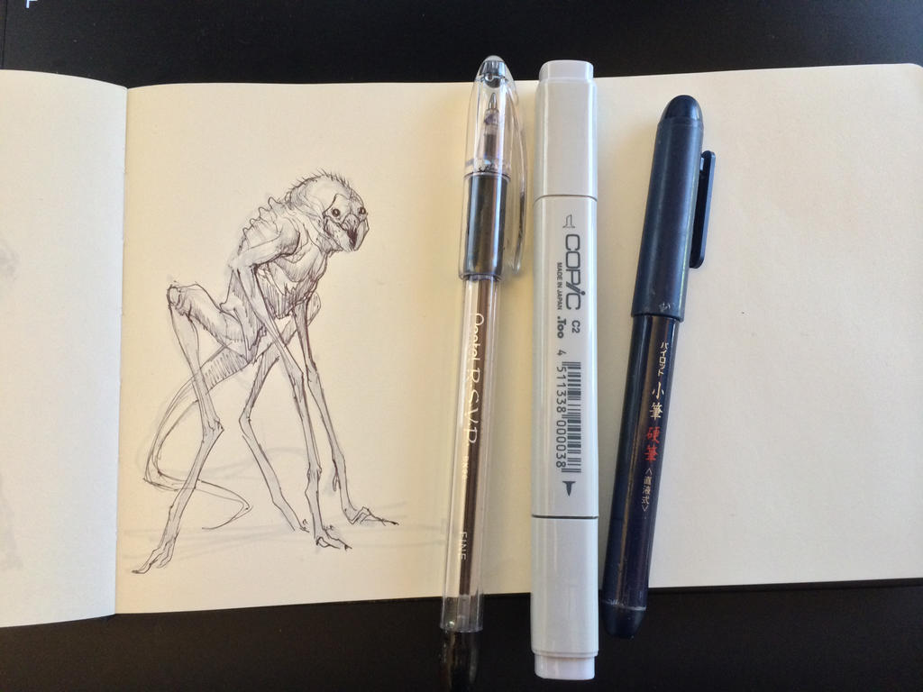 3D Creature Design: The Alien Rock Grubber- Sketch by JSMarantz