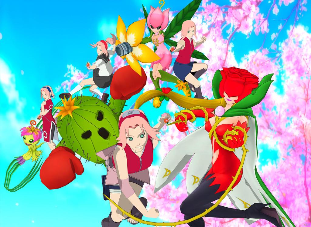 Sakura and Palmon Evolution by ramenlover98