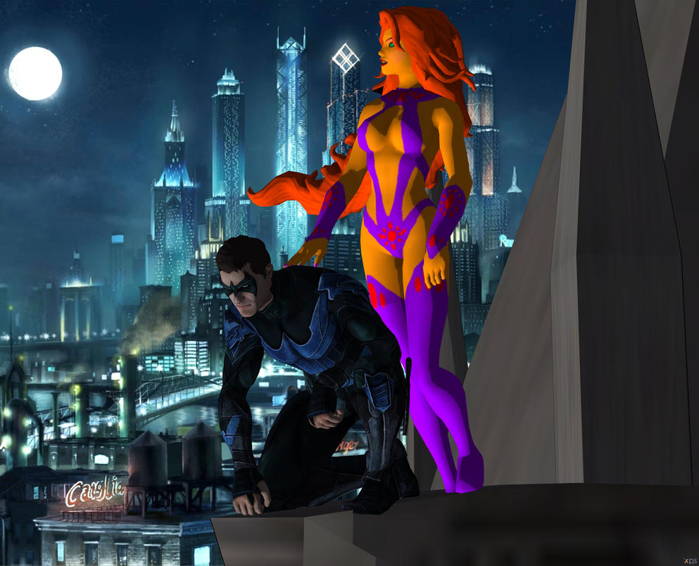 Nightwing and Starfire by ramenlover98
