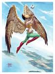 Hawkgirl in Gouache