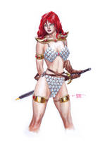 Red Sonja - Gouache by edtadeo