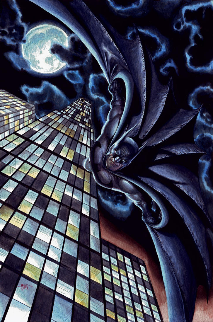 Batman Glides Again - Gouache by edtadeo