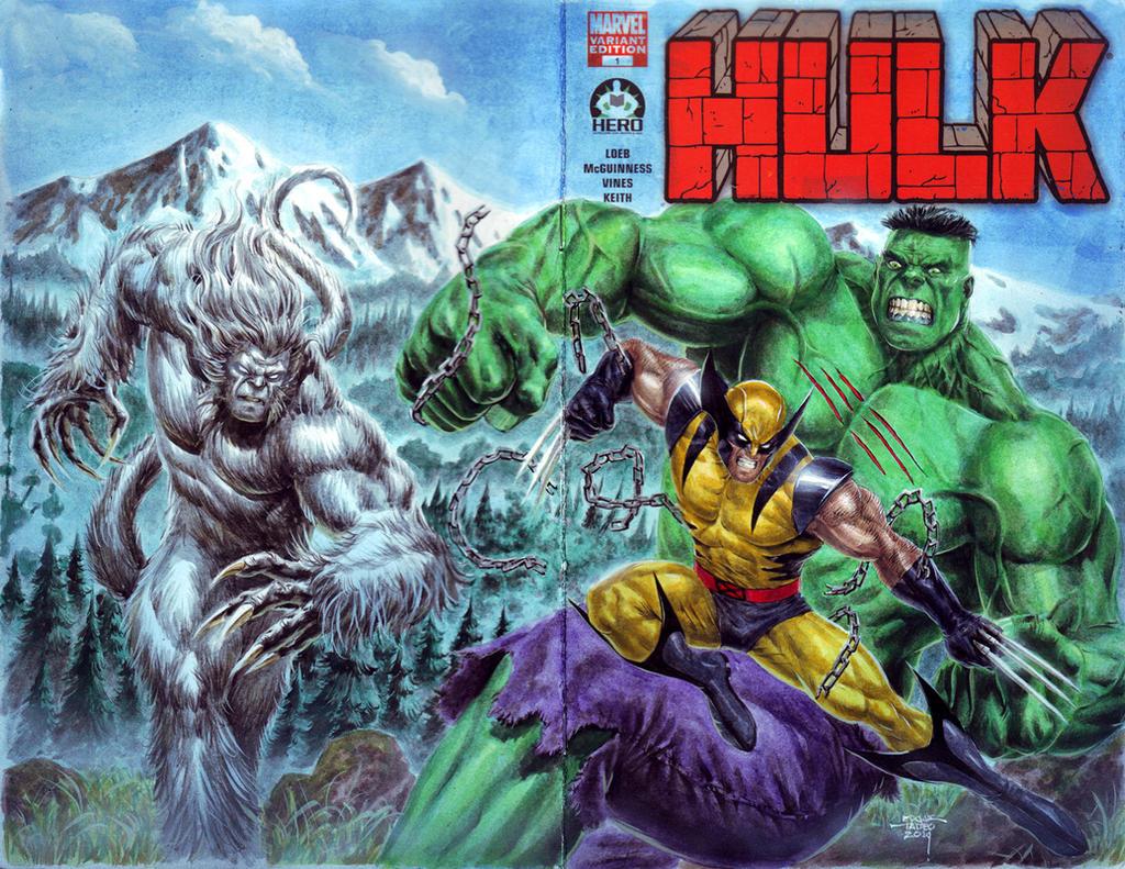 hulk vs wolverine vs wendigo by edtadeo on deviantart