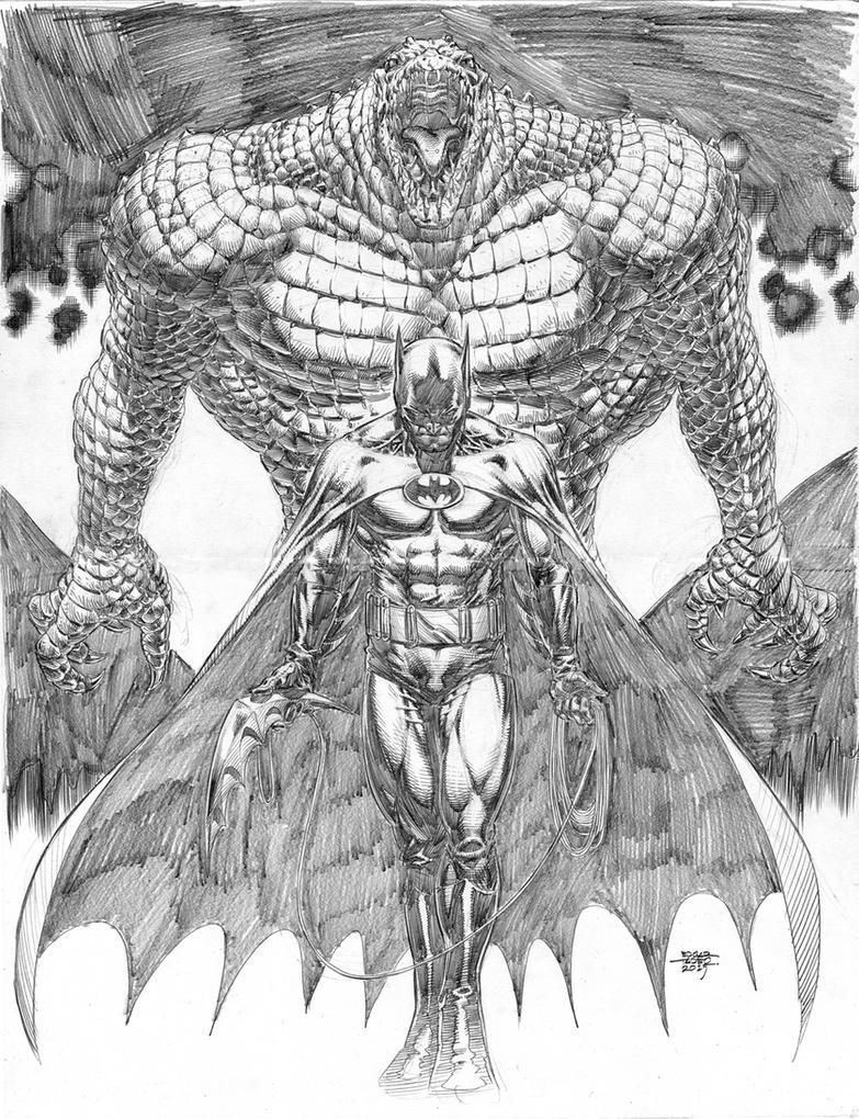 Batman vs Killer Croc by edtadeo