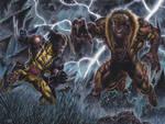 Wolverine vs Sabertooth - Watercolors