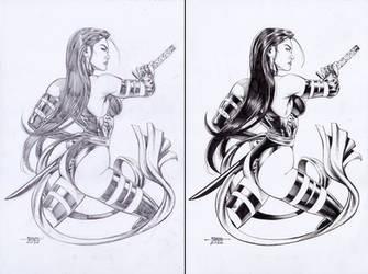 Psylocke - Pencil-Ink by edtadeo