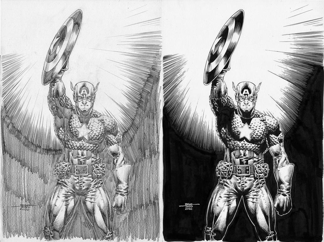 Captain America - Pencil-Ink by edtadeo