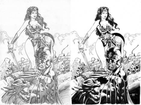 Wonder Woman and Batman - Pencil-Ink