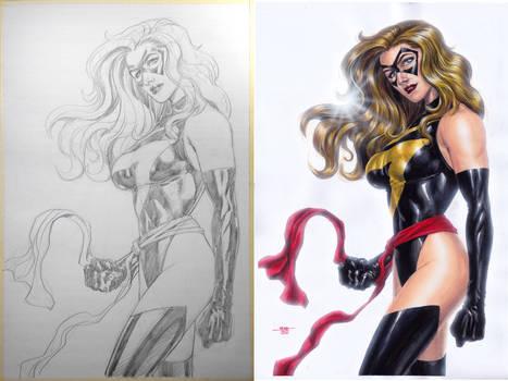Ms. Marvel - Pencil-Watercolors Side-2-Side