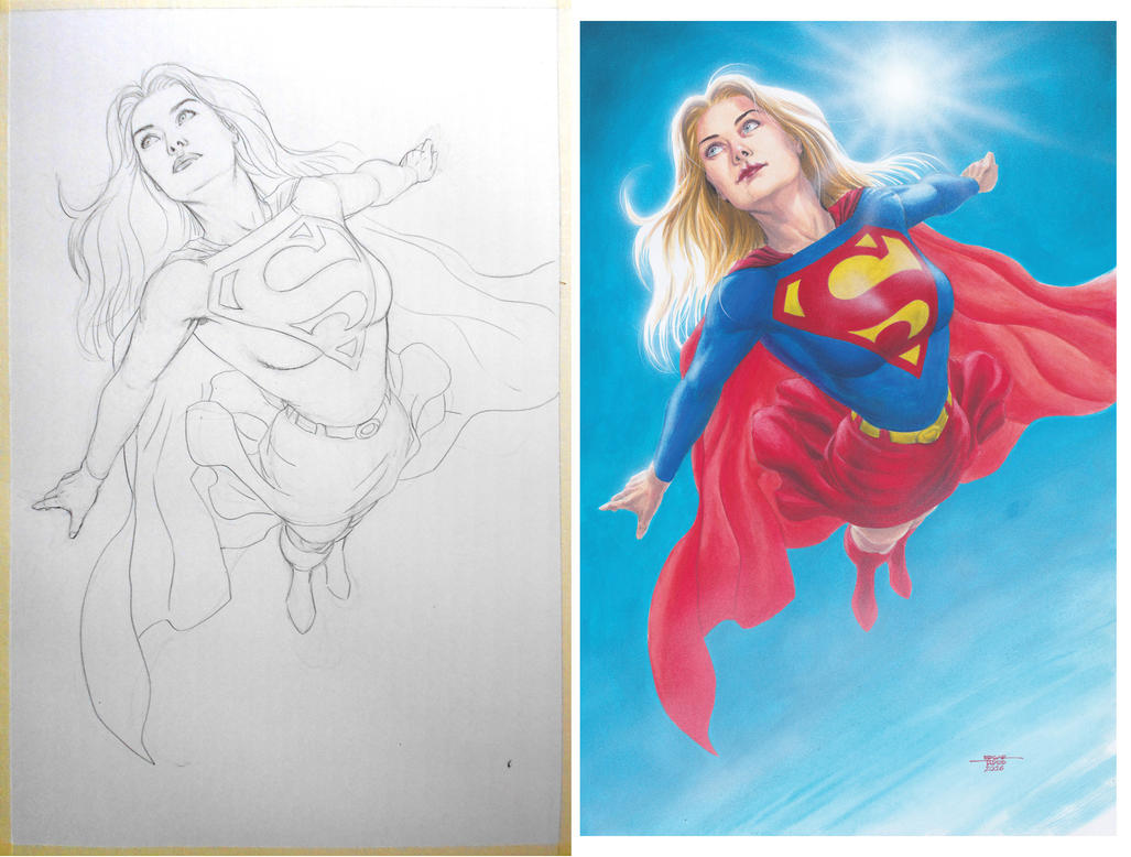 Supergirl - Pencil-Watercolors by edtadeo