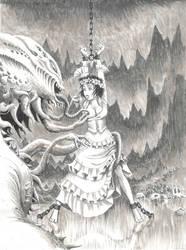Werebeasts of Hel: Jalna in Nidhug's Cavern by Grigbertz