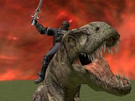 Ganondorf on a T-Rex by Janus3003