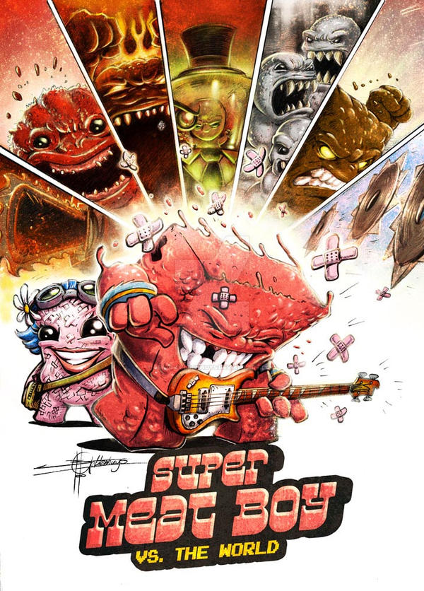 Mashup: Super Meat Boy vs. The World - Coloured by Ben-G-Geldenhuys