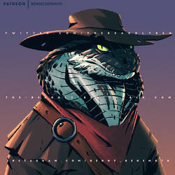 Dragonborn Cowboy Snek Bust Commission - 2019