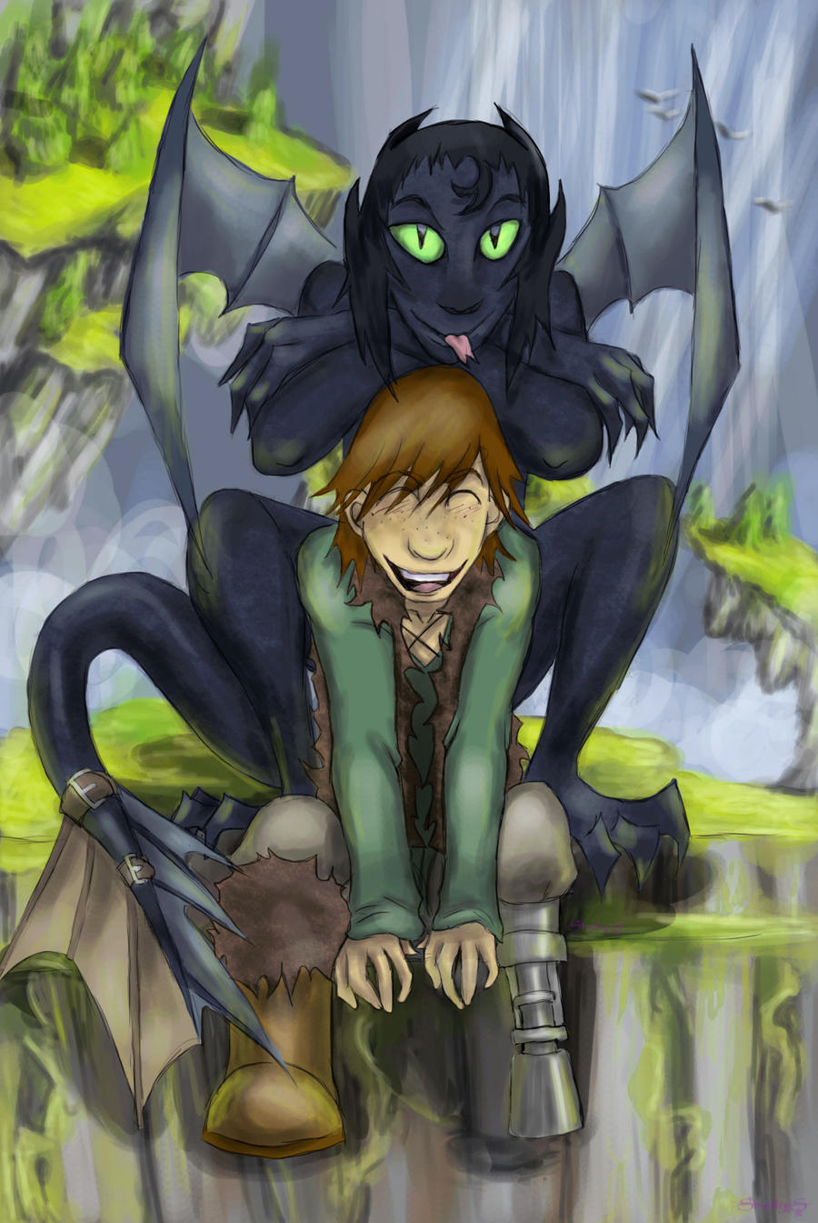 Hiccup toothless waterfall by syra 728 on deviantart