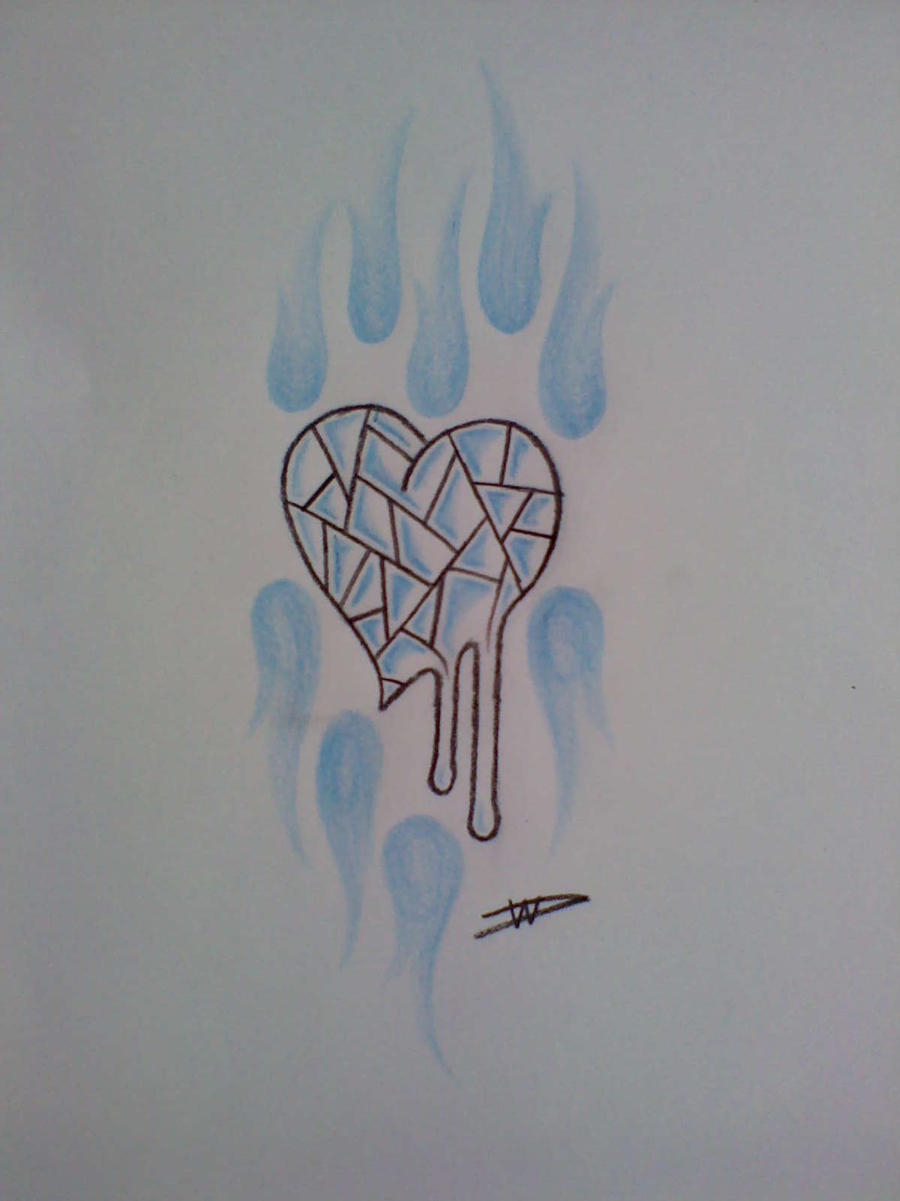 glass heart tattoo design by