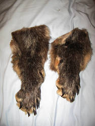 Pair of matched black wolf legskins SALE by CindarellaPop