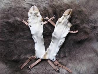 White deerskin bracers by CindarellaPop
