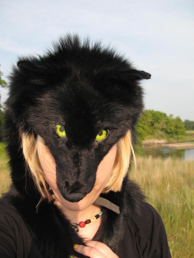 Black coyote headdress by CindarellaPop