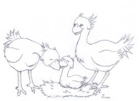 Chocobo Family - sketch by Lissou-drawing