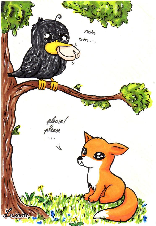 Le Corbeau et le Renard by Lissou-drawing on DeviantArt
