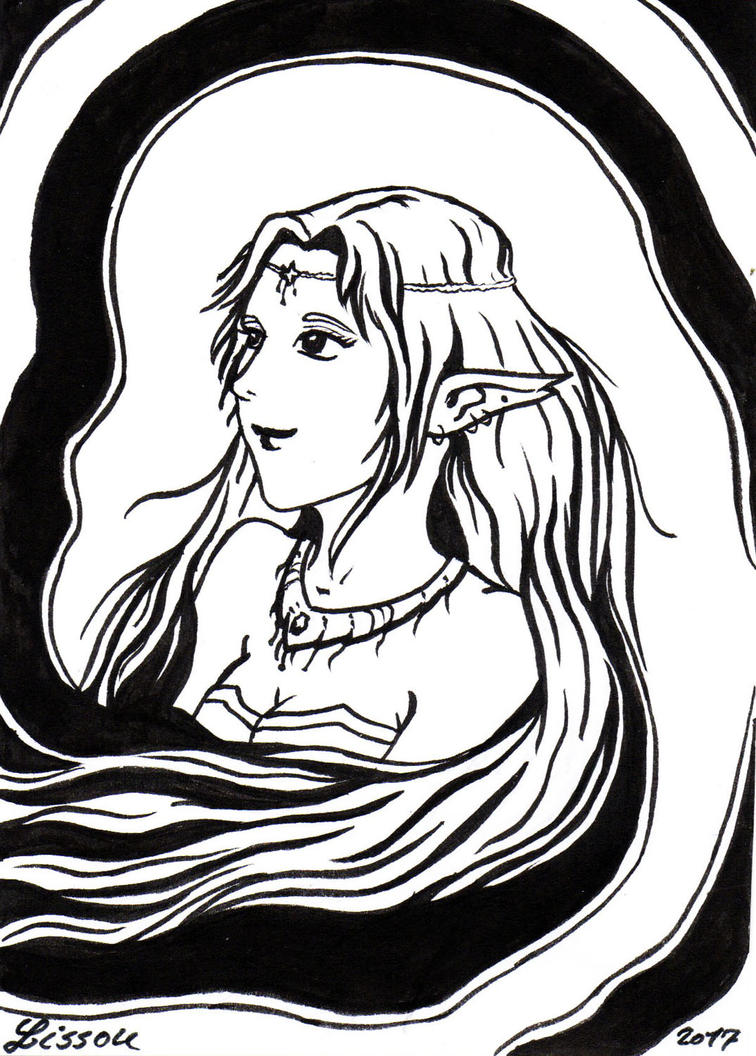 Inktober 2017 - Pretty Elfe by Lissou-drawing