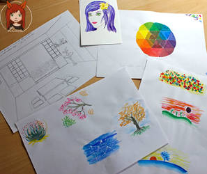 Various watercolor and pencil drawings by Lissou-drawing