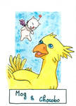 Six Fanarts Challenge - 6/6 - Mog and Chocobo by Lissou-drawing