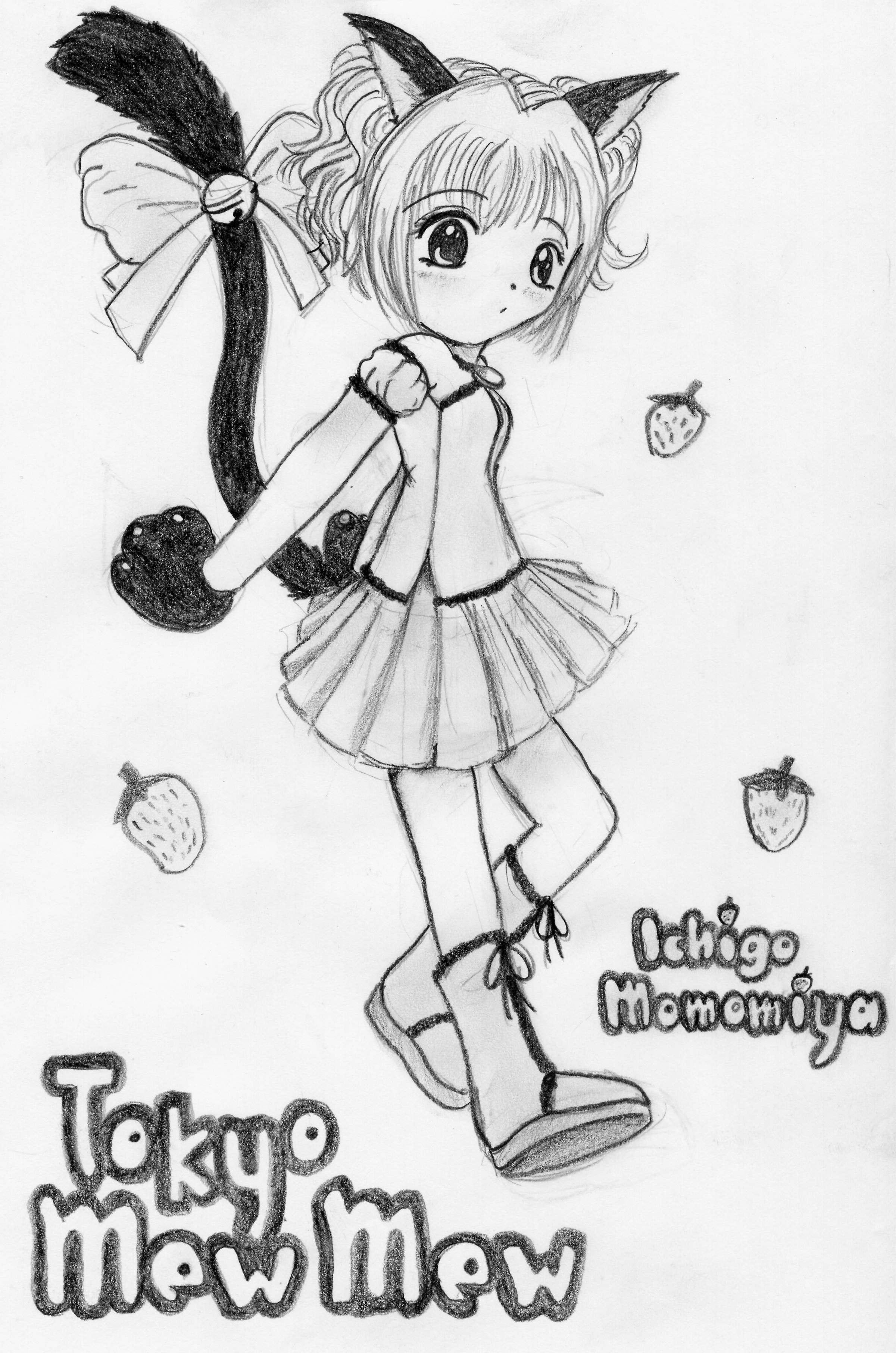 Mew Ichigo - black and white