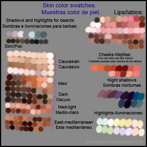 Some skin swatches. Algunas muestras de piel