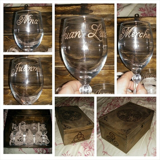 Engraved glass and pyrography. by MarinaSchiffer