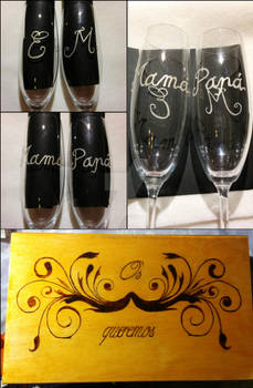 Commission: Engraved glass and box with pyrography