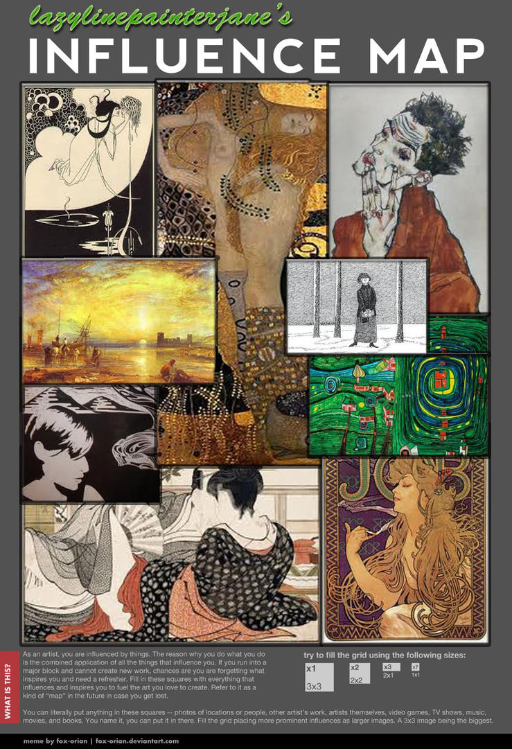 see how many artists you can guess before scrolling down for the list featured clockwise from top righthand corner are aubrey beardsley - What Inspires You What Influenced You The Most