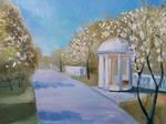 Apple trees blossom - oil painting