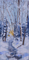 Frozen river - oil painting