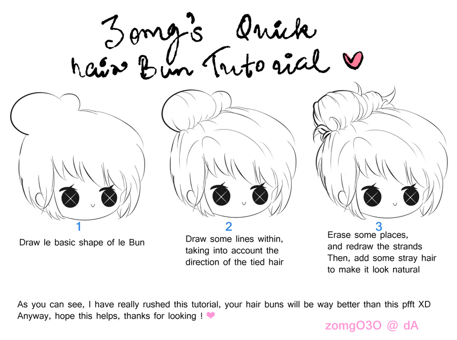 Hair Bun Tutorial By Zomgo3o On Deviantart