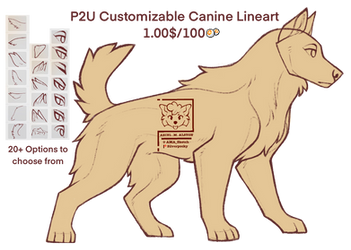 {P2U - 100pts} Fully Customizable Canine Lineart by SilverPocky