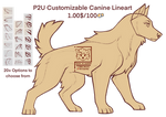 {P2U - 100pts} Fully Customizable Canine Lineart