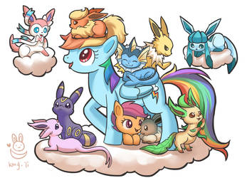 Rainbow Dash and  Scootaloo with Eevee family