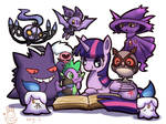 Twlight sparkle and spike with night pokemons