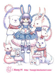4 season girls and animals---winter rabbit girl by koyii-kong