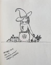 Inktober day 14: Healer Witch by Marjolijn-Ashara