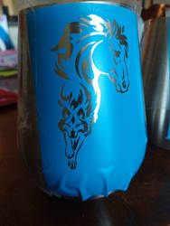 WIP horse themed tumbler mug by fractured100